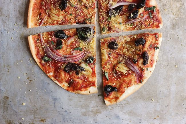 pizza with spicy hummus vegetables goat cheese and black olives Quotes