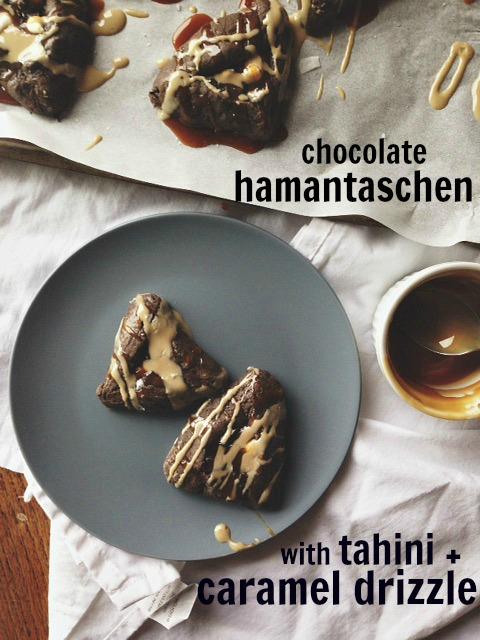 double chocolate hamantaschen tahini caramel