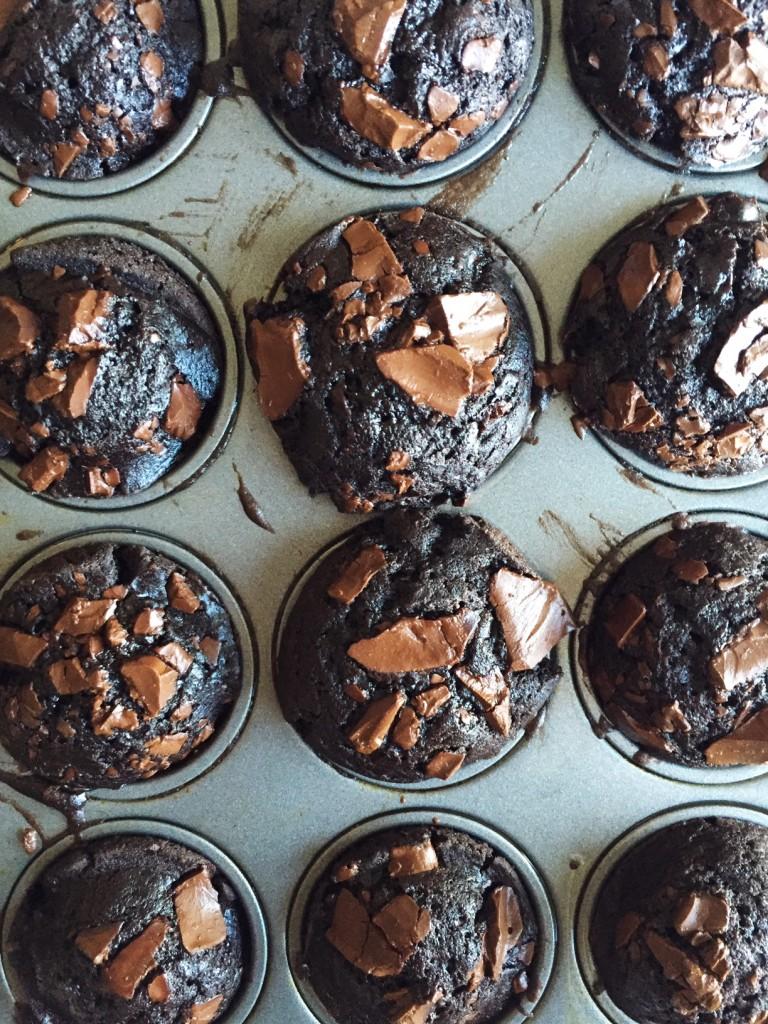 double chocolate chunk muffins with tahini glaze